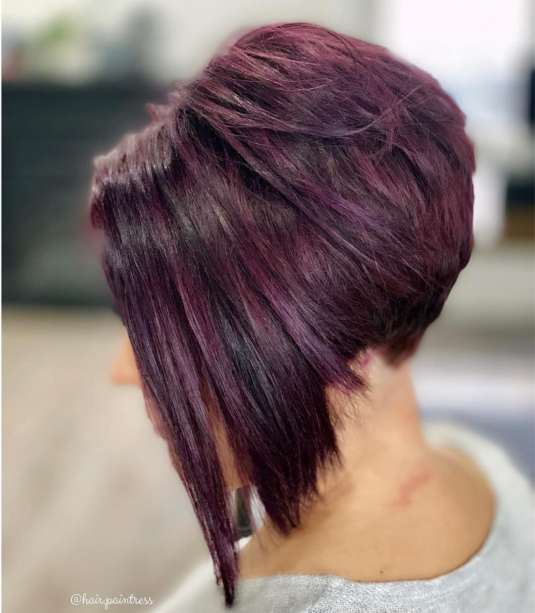 Violet Bob Stacked High For Dramatic Angle Angled Bob Hairstyles Angled Bob Haircuts Choppy Bob Hairstyles