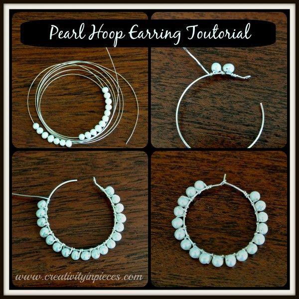 Pearl Hoop Earrings Tutorial For Wire Wrapped Beaded Hoop