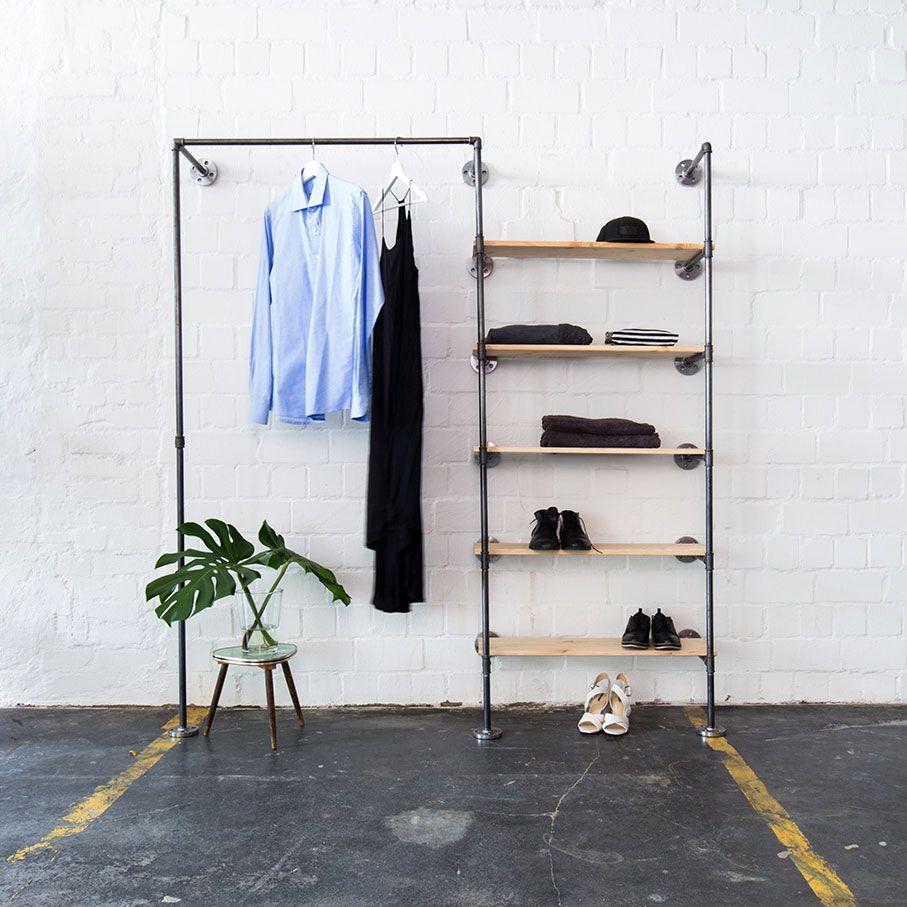 Open Loft Space Garderobe Aus Kleiderstange Regal