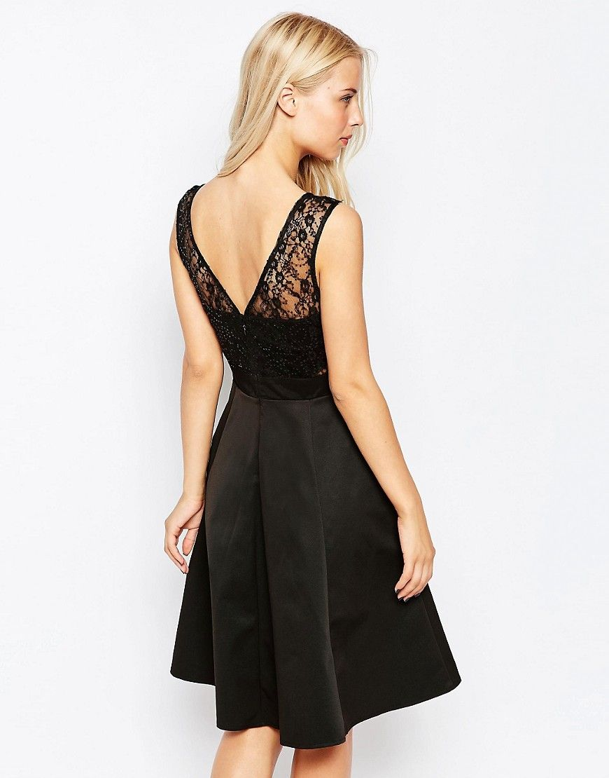 Image of lipsy skater dress with lace top black lace dresses