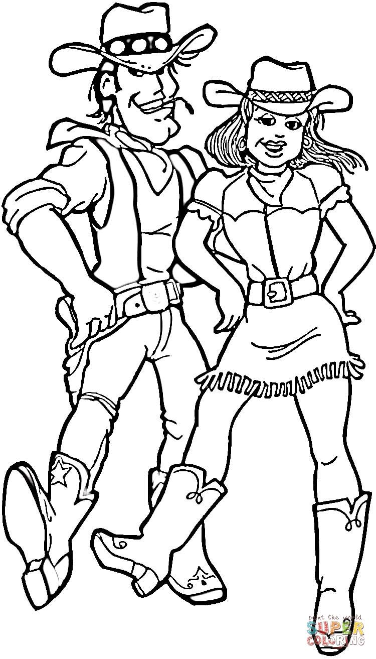 Cowboy And Cowgirl Coloring Page Supercoloring Com Sports Coloring Pages Coloring Pages Mothers Day Coloring Pages