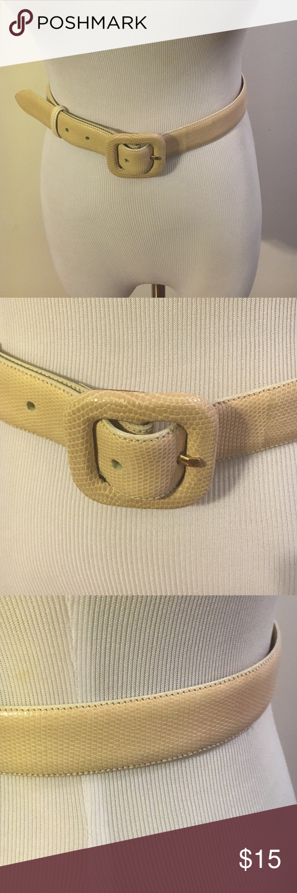 Cale cream leather belt Embossed. Cale Accessories Belts