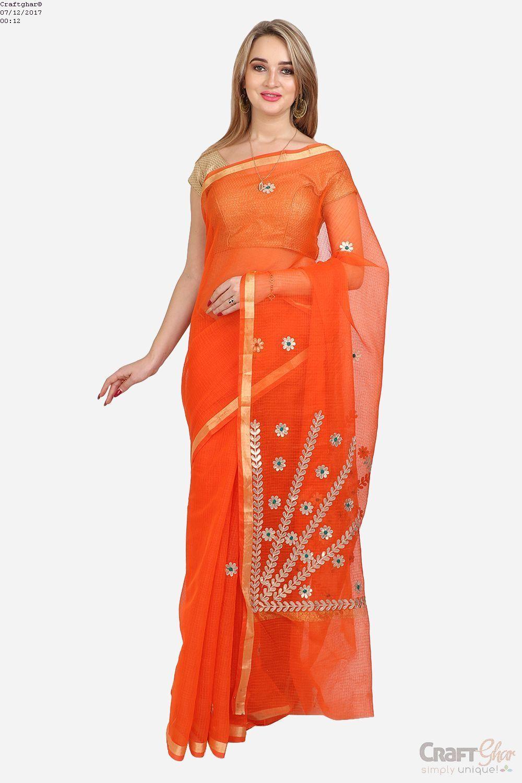 1ae61c5b36f280 Craftghar Presents this beautiful Kota Doria Cotton Blue Gold Aari work  embroidered Saree Sari with Blouse.Kota Doria woven fabric with a unique ...