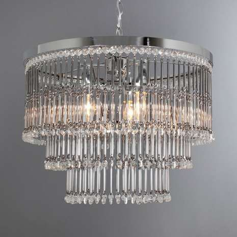 Moreno Chrome Twisted Glass 3 Light Ceiling Fitting Hall And