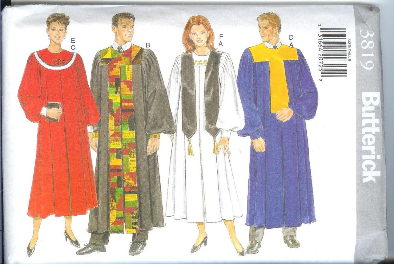 Butterick unisex church choir robe sewing pattern wedding butterick unisex church choir robe sewing pattern jeuxipadfo Gallery