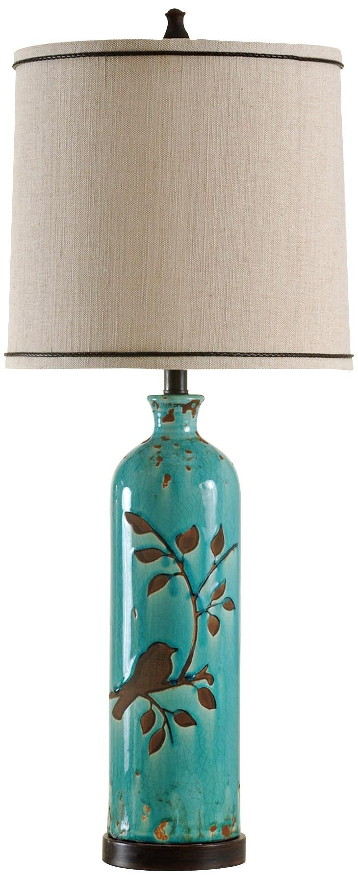 Amazing Adele Ceramic Foliage And Bird Turquoise Table Lamp   Like The Bird Design.  Could It