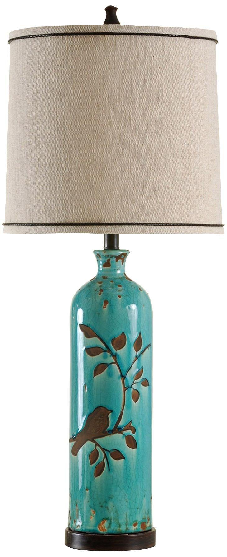 Adele Ceramic Foliage And Bird Turquoise Table Lamp Like The Bird