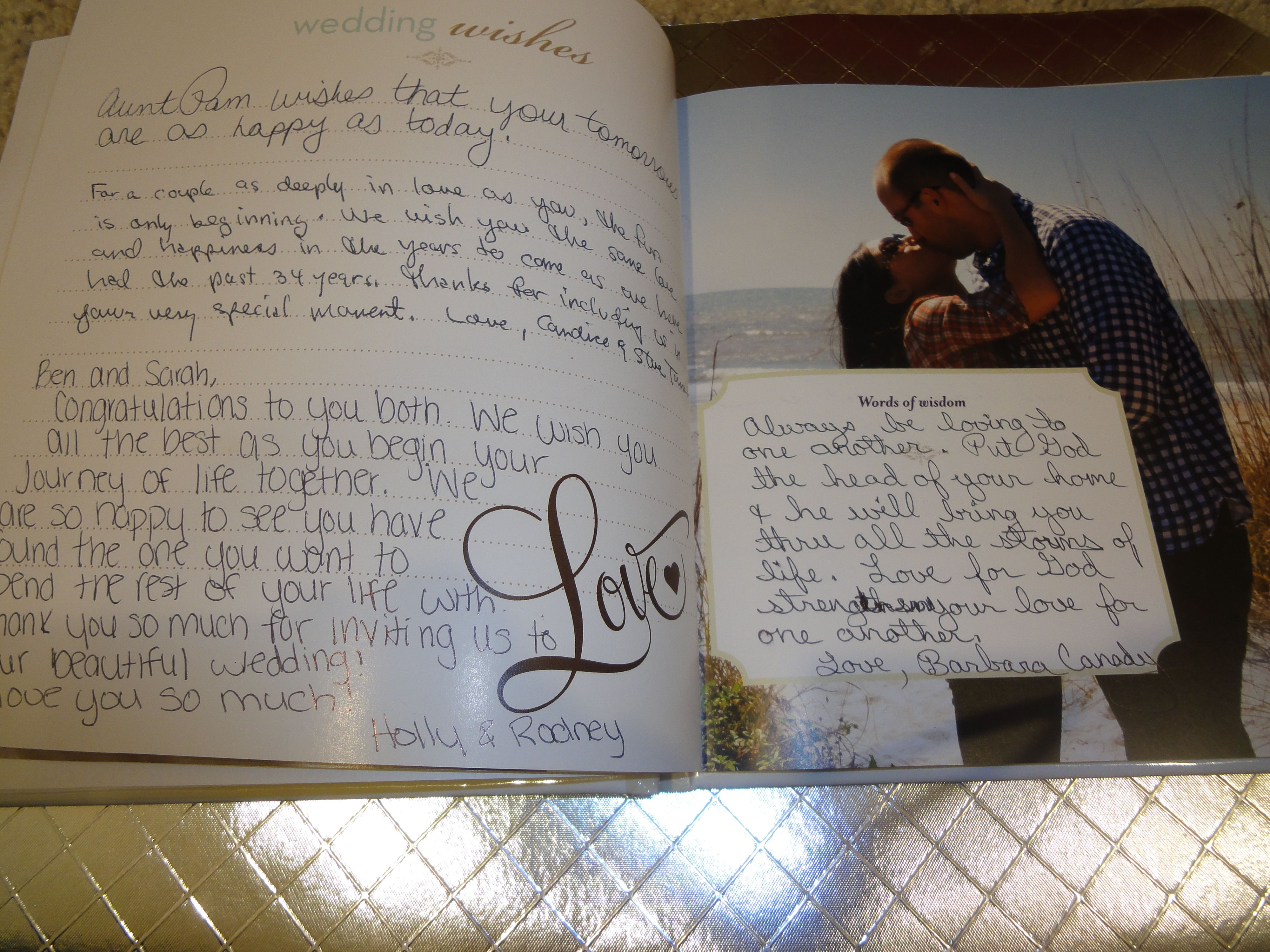 Custom Wedding Guest Book Inside Page Example
