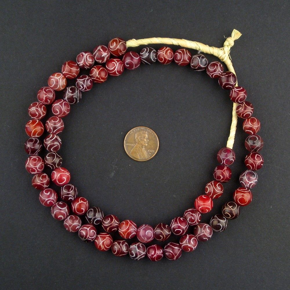 Translucent Red Patterned Stone Beads