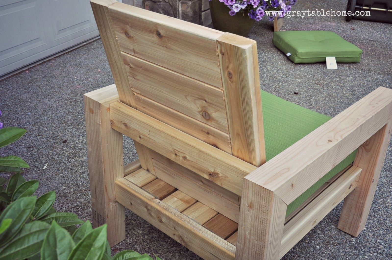 DIY Modern Rustic Outdoor Chair plans using outdoor cushions from ...