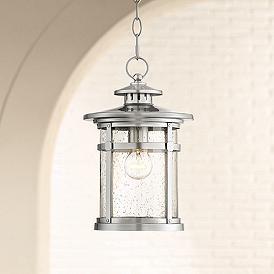 Callaway 13 1 2 High Chrome Outdoor Hanging Light 39r22 Lamps Plus Outdoor Hanging Lights Hanging Lantern Lights Hanging Porch Lights