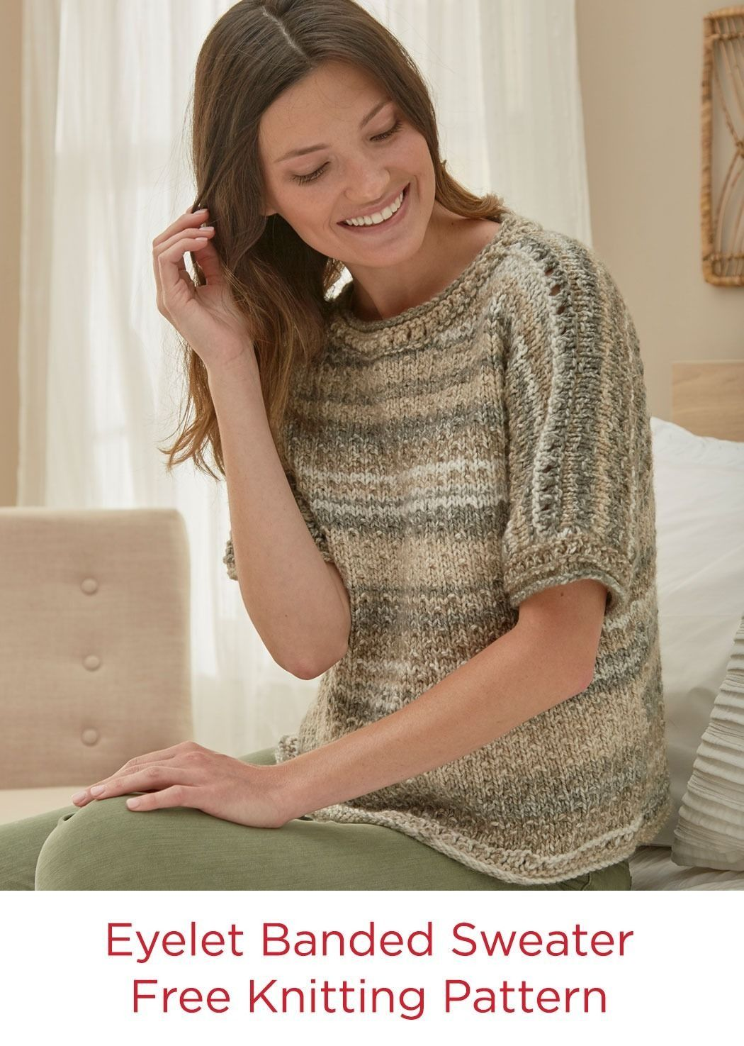 Eyelet Sweater Free Knitting Pattern Red Heart Yarns Hopscotch ...
