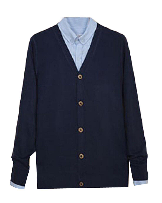 GAGA Men Long Sleeve Button Down V-Neck Cardigan Sweater | Men's ...