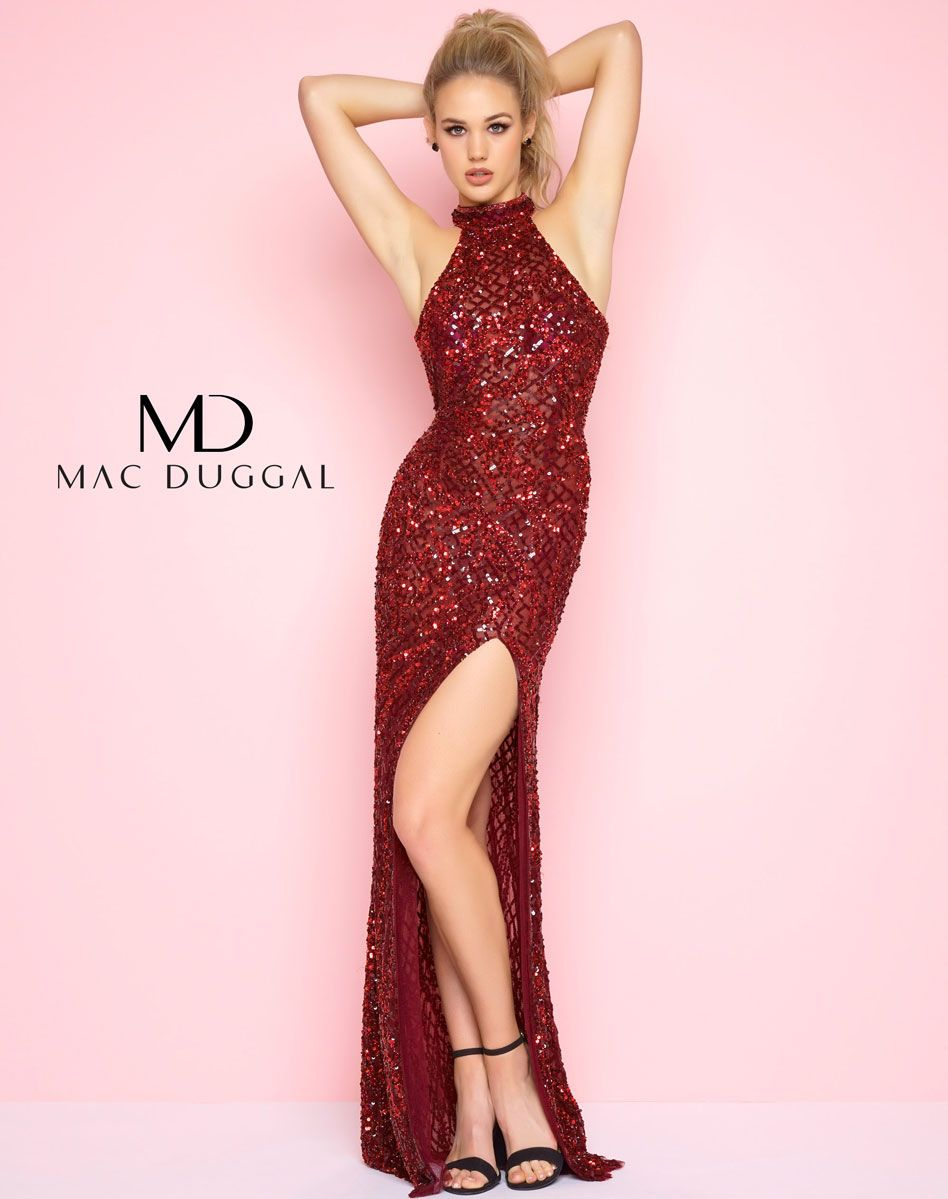 Garnet, high neck, fully sequined, high slit, floor length gown with ...