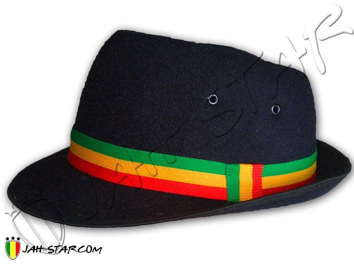 295f2ca78c5 Rasta Reggae Roots Fedora Hat Trilby R B Bob Marley Jamaica Jah Star Black  M   L  JahStar  FedoraTrilby