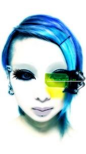 cyberpunk, virtual reality, neopunk girl, augmented reality, blue hair