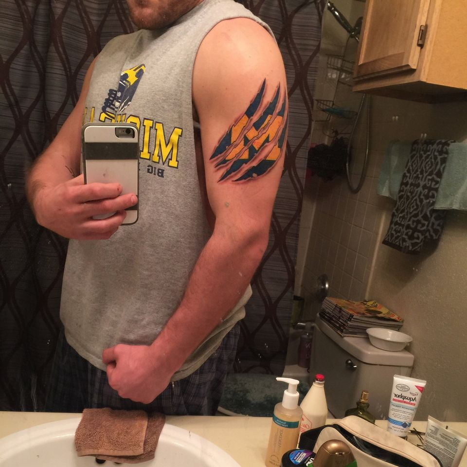 University Of Michigan Fans Share Photos Of Wolverine Themed Tattoos Michigan Tattoos Tattoos Wolverine Tattoo