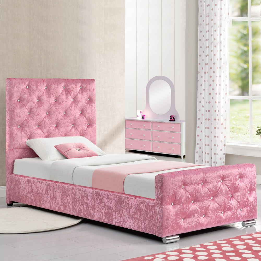 Beaumont Diamante Pink Crushed Velvet Upholstered Storage