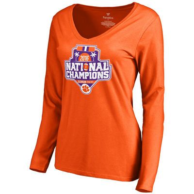 0fe6d80510bc8 CFS - Women s Fanatics Branded Orange Clemson Tigers College Football  Playoff 2016 National Champions Official Icon V-Neck Long Sleeve T-Shirt