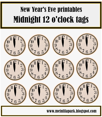 free printable New Year's Eve table decoration – clock and star snack toppers – Silvester Deko-Vorlagen