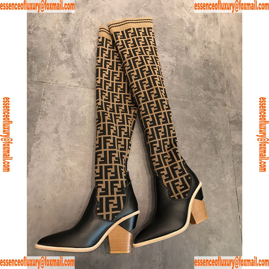 23bf8824771f Fendi Stocking Black Leather Thigh High Boot Fendi Luxury Shoes 35 To 39  A192PP490 AA74588