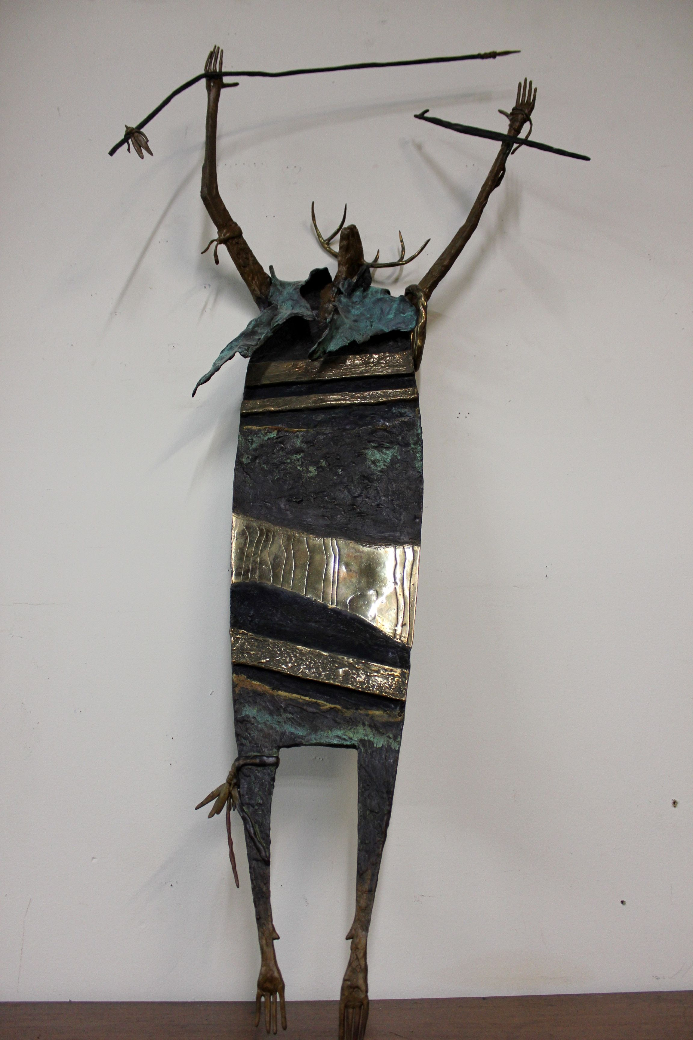 """""""Shaman with Golden Ring of Forever"""" by New Mexico Artist Bill Worrell. Made in Sata Fe. Pre-Sale Estimate: $800- $1,000"""