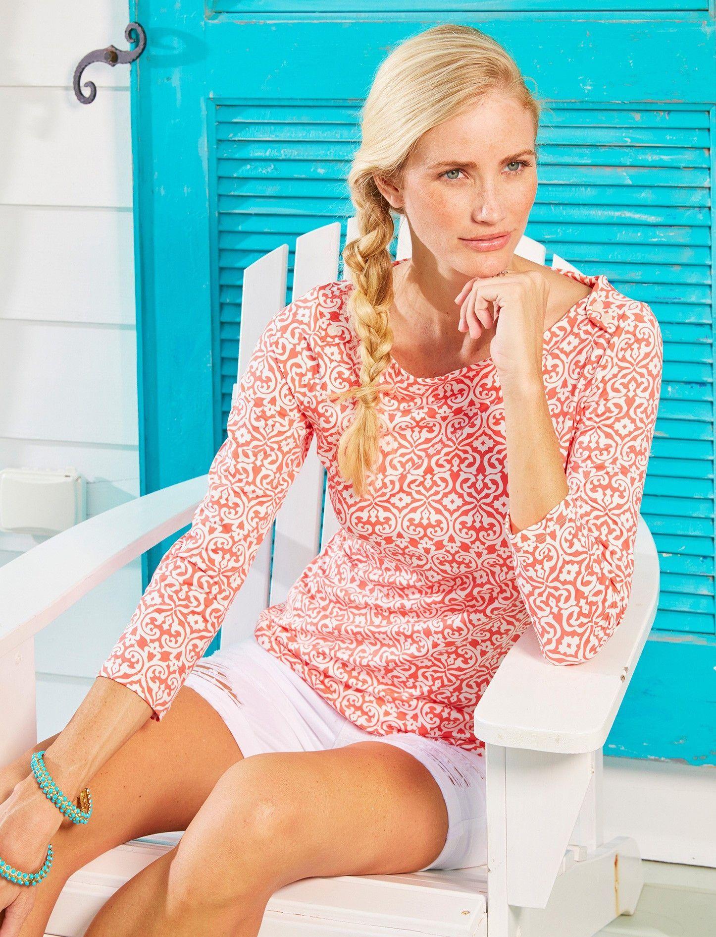 d0203fb61d Cabana Life Coral Seas Boat Neck Top | UV Clothing | Sun protective ...