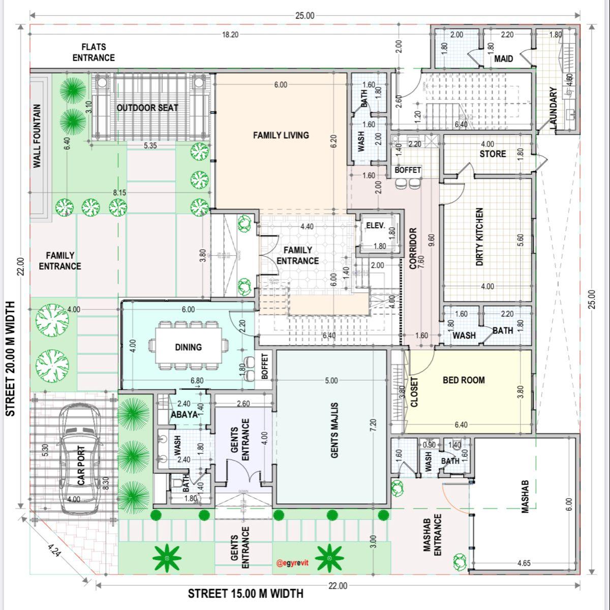 تصميم دور ارضي لفيلا و شقق خلفية Family House Plans Beautiful House Plans New House Plans