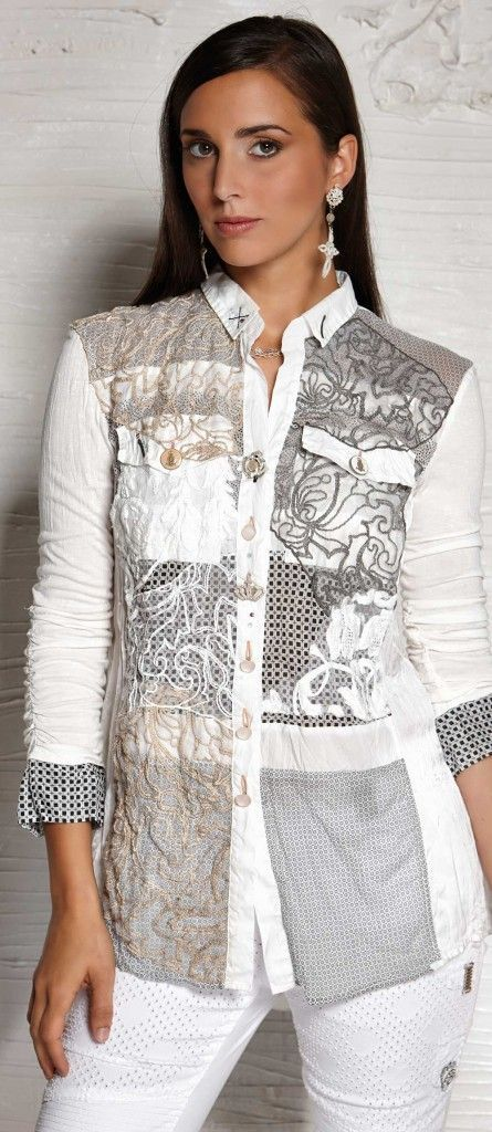 elisa cavaletti -grijze blouse rebuild: | Recycle fashion ...