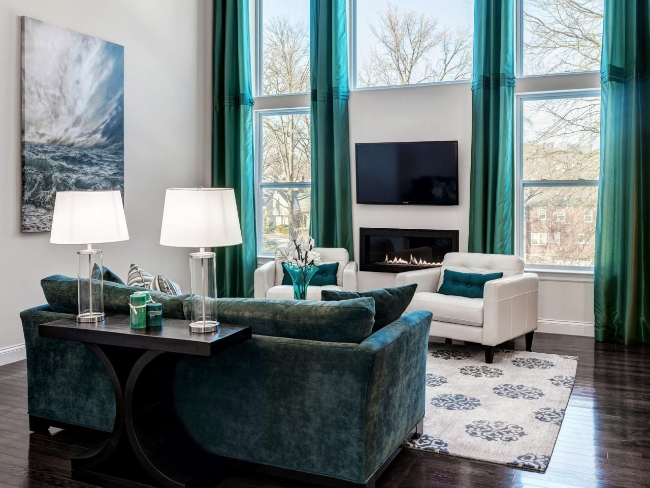 Room · Turquoise Living Room Design Feature Dark Grey ... Part 33