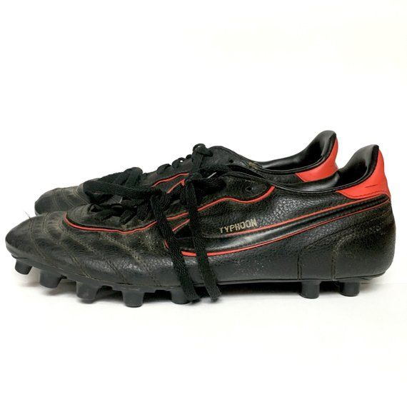 fb0fb25e61de Vintage 80s 1985 Nike Typhoon Black and Red Soccer Turf Athletic ...