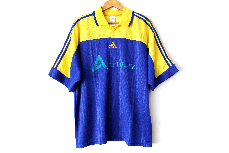 90 S Adidas Football Shirt Made In Portugal Vintage Football Jersey Blue Yellow Soccer Shirt Soccer Jerse Adidas Football Football Shirts Basketball Shirts [ 2000 x 3000 Pixel ]