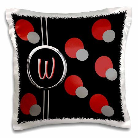 3dRose Modern Geometric Black Red Grey Circle Pattern Monogram Letter W, Pillow Case, 16 by 16-inch