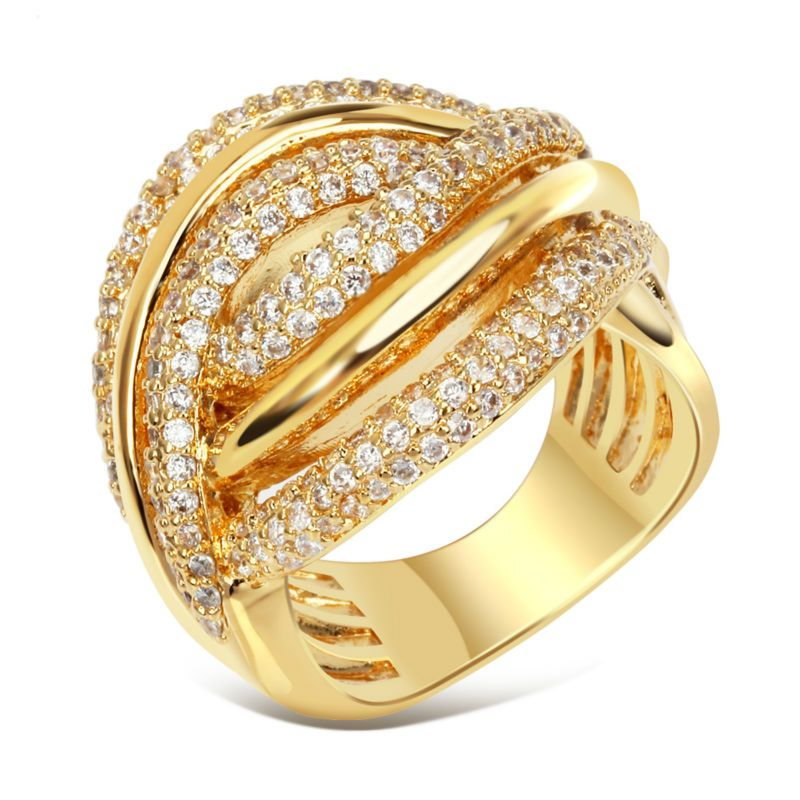 twisted design women pierced ring rhodium or gold color luxury bridal wedding engagement band ring