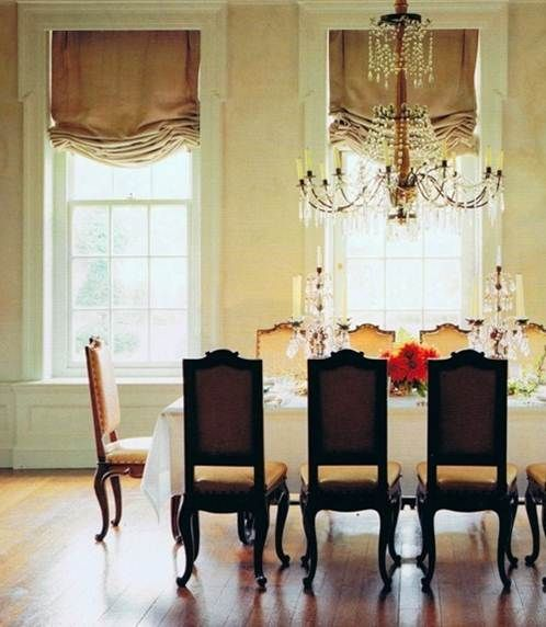 Dining Room Roman Shades Living Room Neoclassical Interior Home