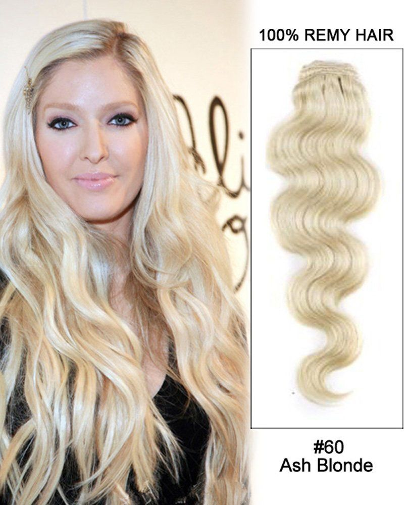 60 Ash Blonde 7pcs Body Wave 100 Remy Hair Clip In Extensions 30