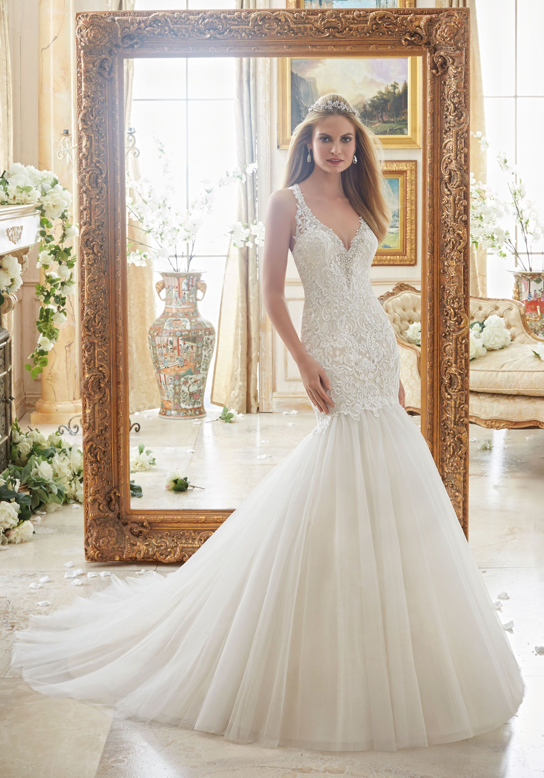 2885 Crystal Beaded Edging Meets Embroidered Appliques On Tulle Wedding Dress Designed By Madeline Gardner