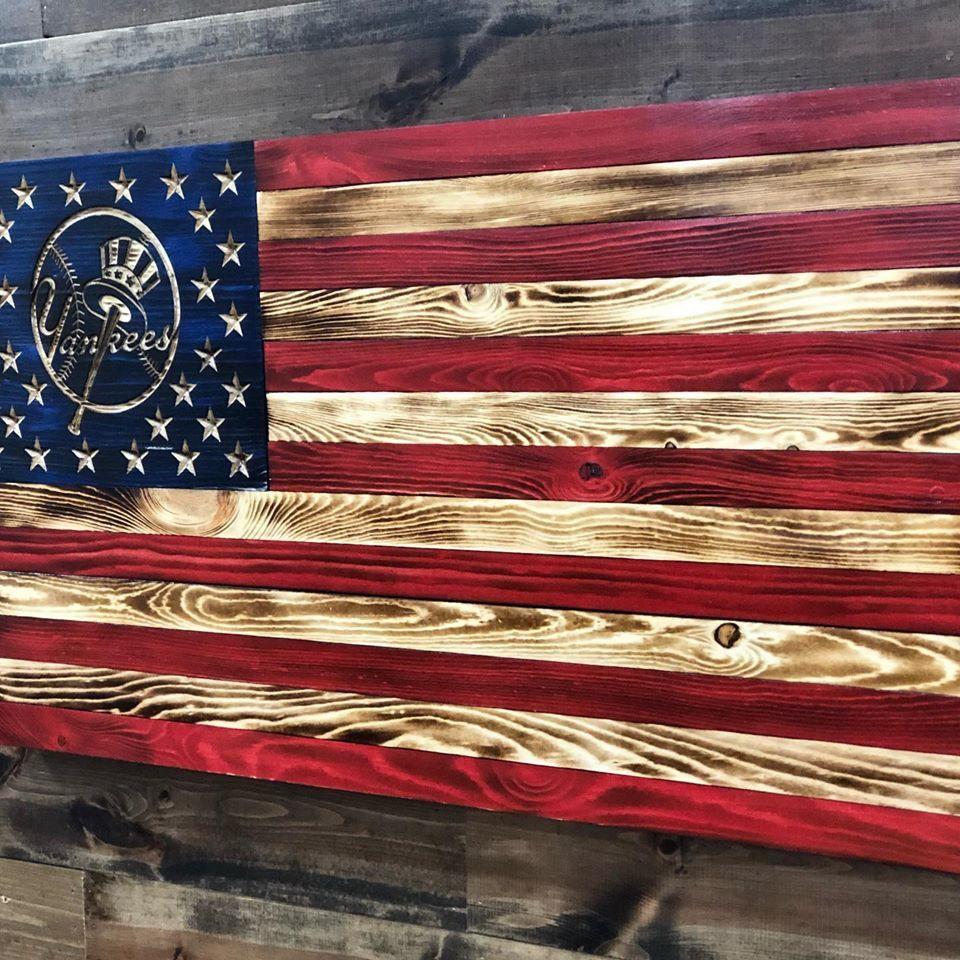 New York Yankees Wood American Flag Yankees Decor Wood Etsy In 2020 American Flag Wood Wooden American Flag Yankees Decor