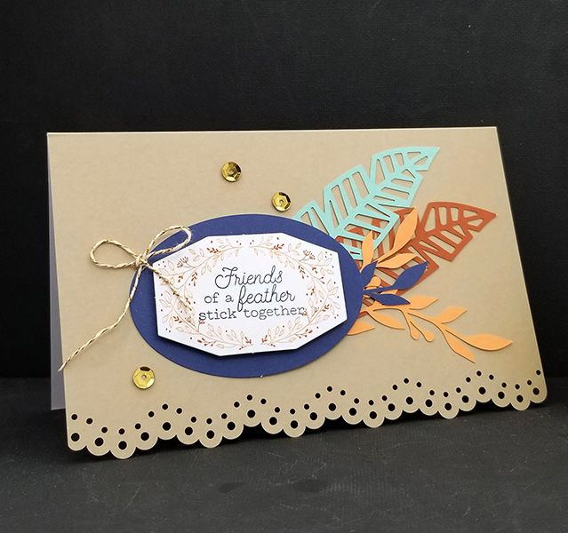 A fun alternative card using pieces from the October 2018 Paper Pumpkin.  And Friends of a Feather is just fun.