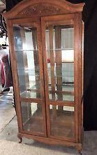 Large Solid Oak Curio Cabinet