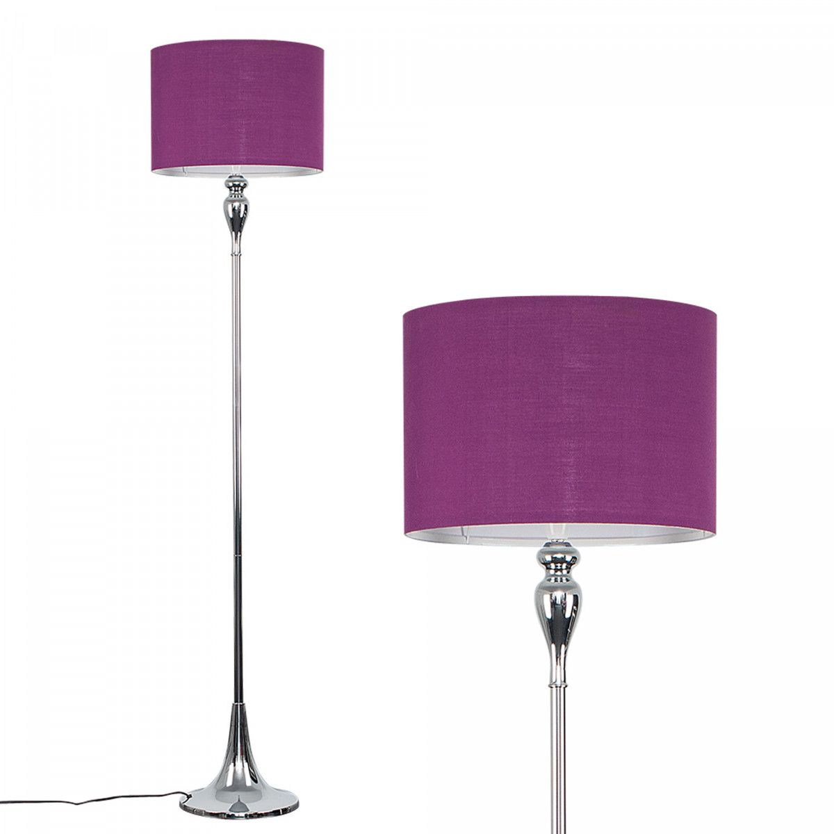 Faulkner chrome floor lamp with purple shade iconic lights floor faulkner chrome floor lamp with purple shade aloadofball Gallery
