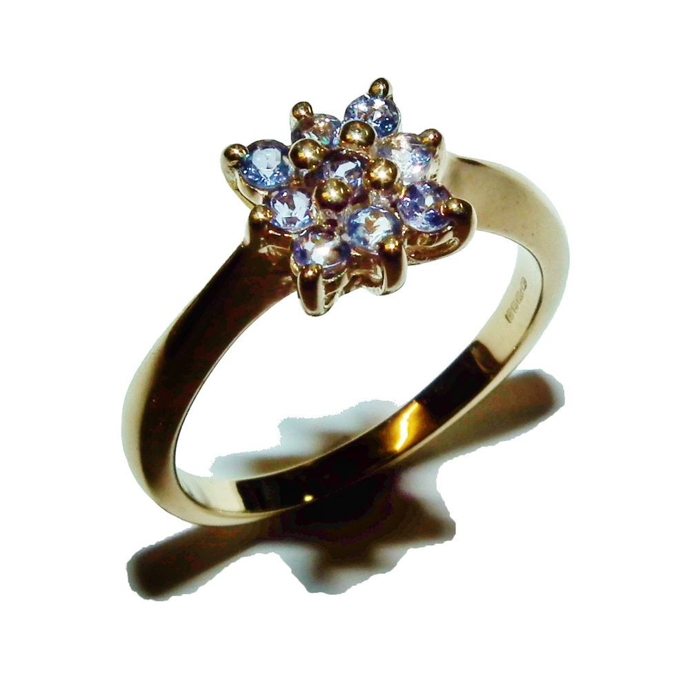 Fully Hallmarked 9ct Yellow Gold & Tanzanite Fancy Cluster Ring - UK Size: N