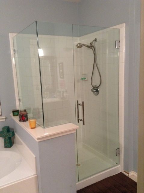 Frameless With Door Notched Panel And Return 8 Ladder Pull Handle Frameless Shower Enclosures Frameless Shower Bathroom Update