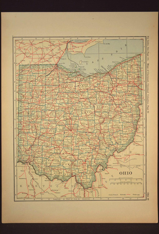 Ohio Map Ohio Original Railroad Antique 1920s Yellow | Map Wall ...