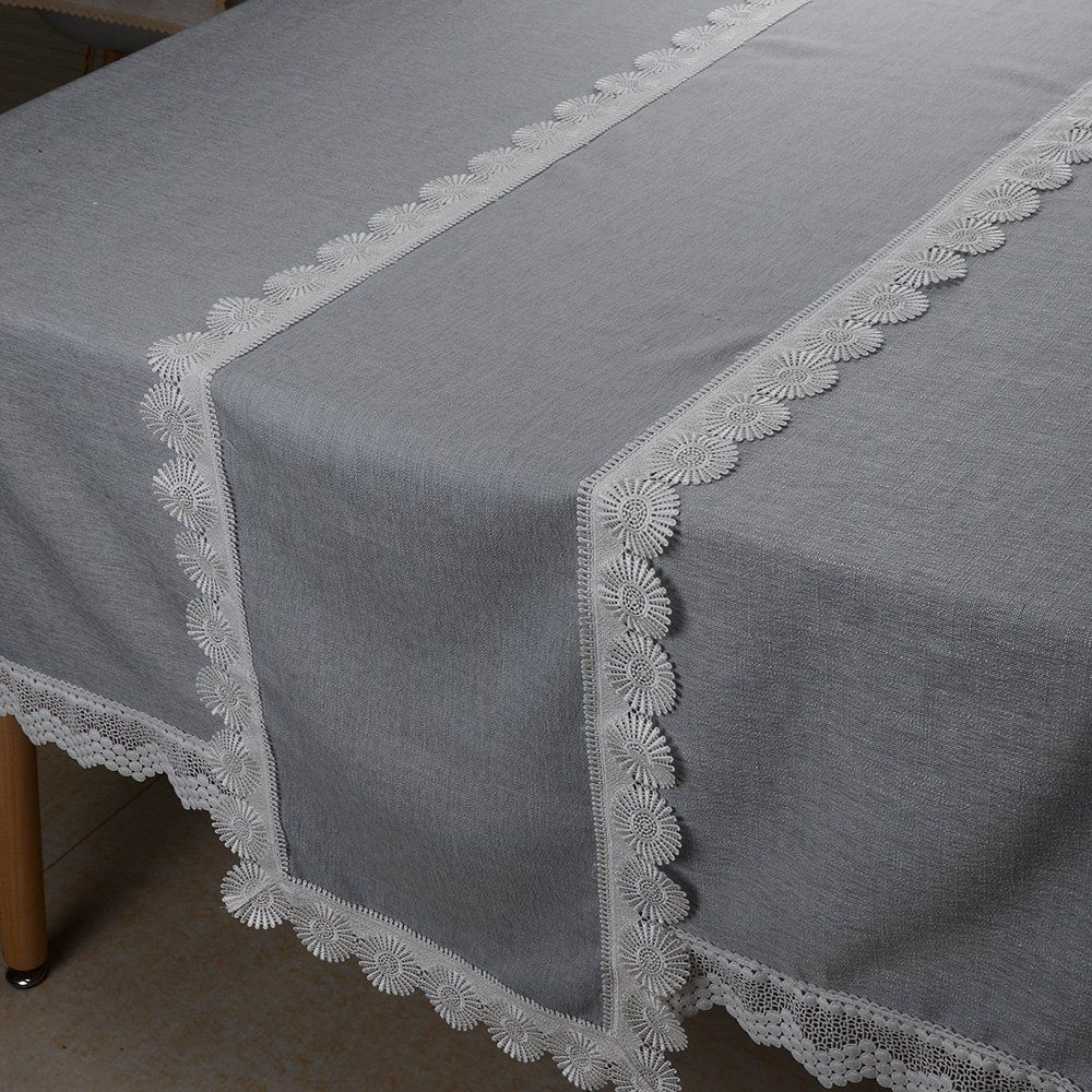 Valentine Table Runners 120 Inch Grey Pure Natural Linen With Lace Trim  Edge Draped For Wedding Dinner By MANVEN ** Details Can Be Found By  Clicking On The ...