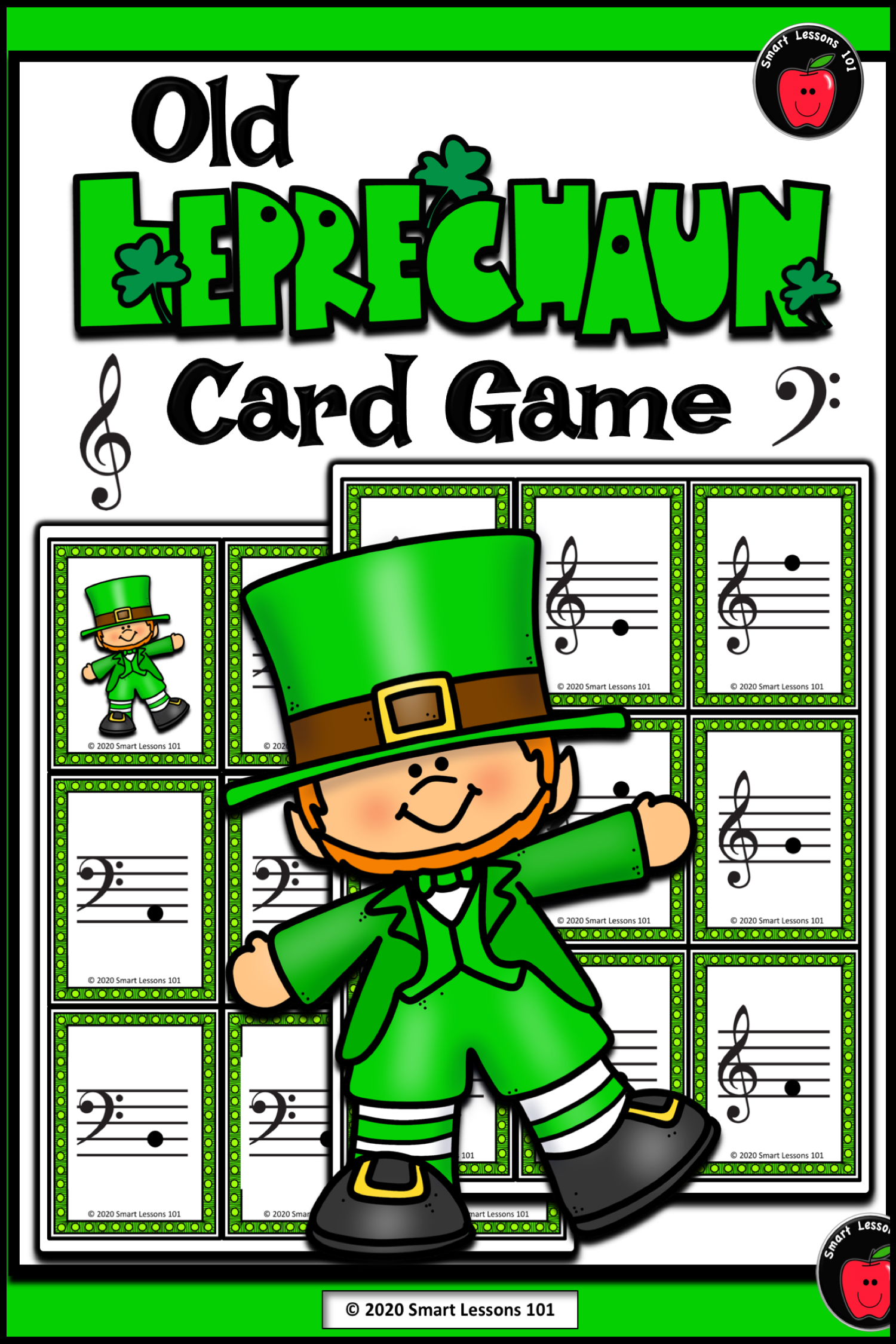 Old Leprechaun Card Games Treble Clef Bass Clef Music