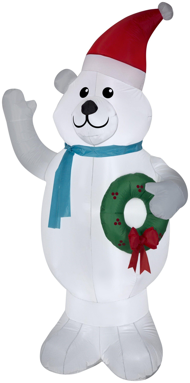 7\' Airblown Polar Bear w/ Wreath Christmas Inflatable | FESTIVALS ...