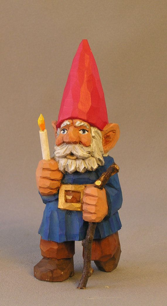 Gnome With Candle, Hand Carved in Wood by Russell Scott