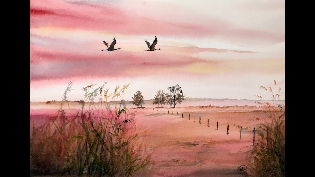 Landscape In Watercolors Painting Tutorial Aquarell Malen