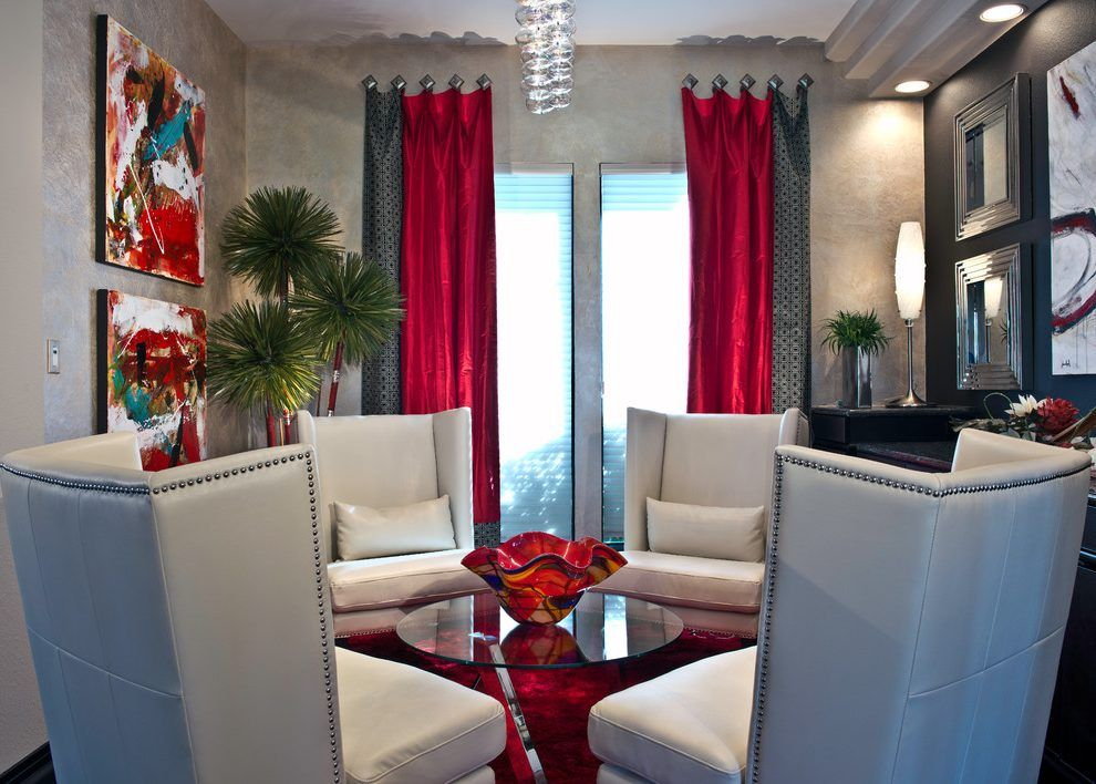 Delightful Red Grommet Curtain Home Renovations with Gray ...